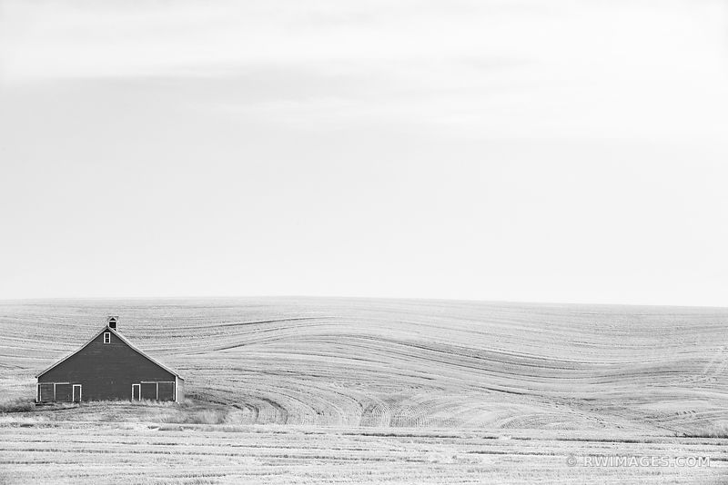 BARN FIELD PALOUSE FARMLAND RURAL EASTERN WASHINGTON BLACK AND WHITE LANDSCAPE