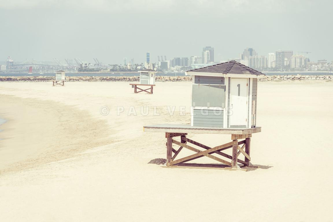 Seal Beach California Lifeguard Towers Photo