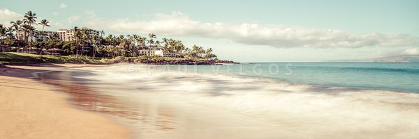 Maui Ulua Beach Hawaii Retro Panorama Photo