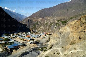 View over the cooperative gold mining settlement of Soamani in the Llica Canyon near Aucapata, La Paz Department, Bolivia,