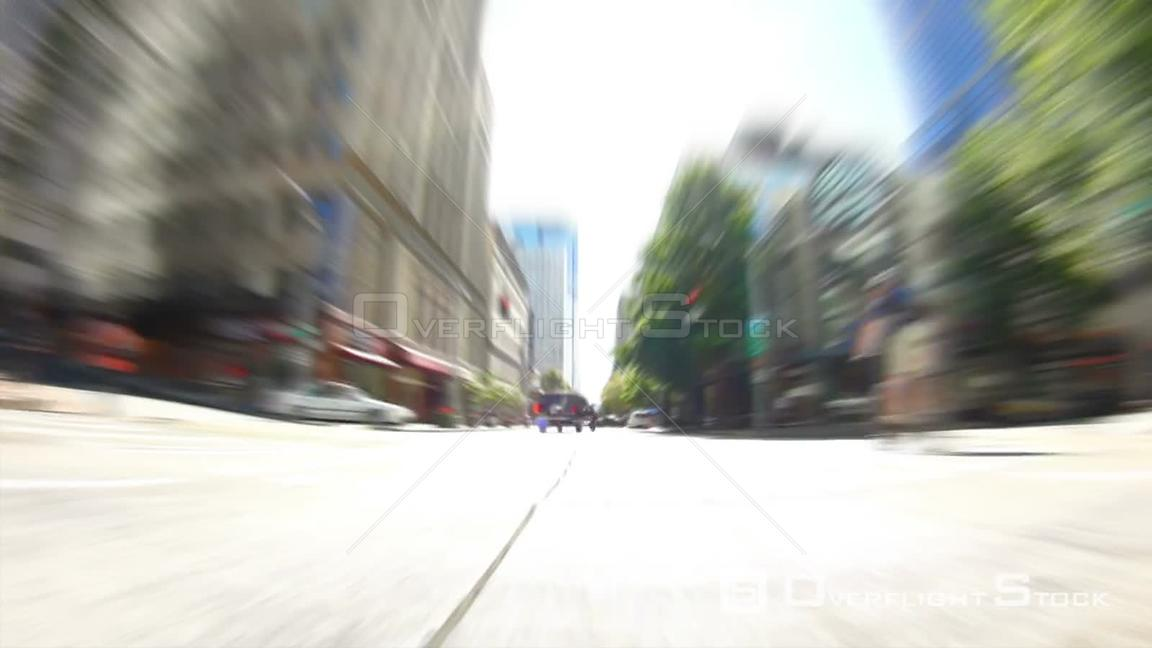 Seattle Washington State USA Seattle city driving time lapse through downtown using zoom blur.