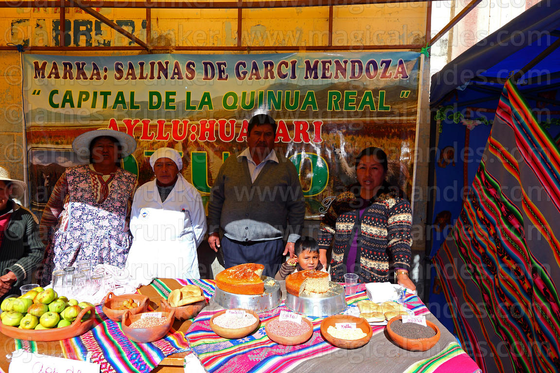 Family and stall with quinoa grains, cakes and produce at an event to promote quinoa products, Salinas de Garci Mendoza, Bolivia