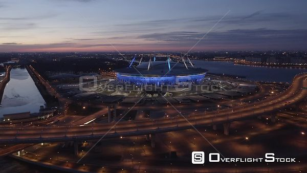 Sunset Forward Flying Towards Zenit Arena Stadium. Saint Petersburg Russia Drone Video View