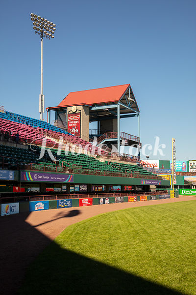 View of Stands, Sheltered Stair Case, and Foul Line at McCoy Stadium