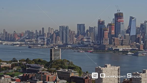 NYC New York Panoramic New York Midtown cityscape north to south with Hoboken in foreground