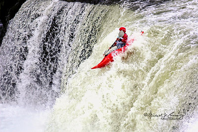 Red Kayak In The Falls- Ohiopyle, Pennsylvania