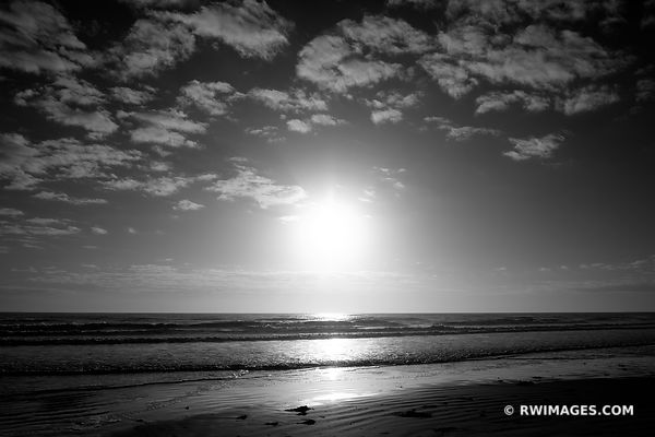 ATLANTIC OCEAN BEACH CUMBERLAND ISLAND GEORGIA BLACK AND WHITE