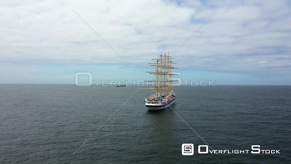 Aerial tracking Royal Clipper at Cascais coast, on a  partly sunny day, in Lisbon, Portugal - anchored due to the COVID-19