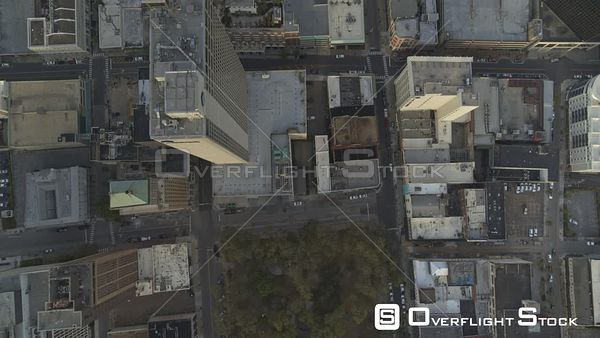 Mobile Alabama Vertical overtop view flying above downtown