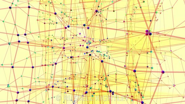 Abstract Network Animation Pink on Yellow