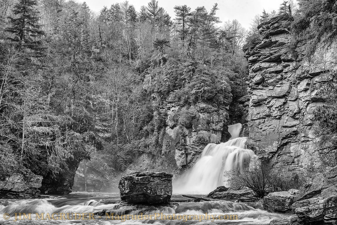 Linville Falls in Black and White