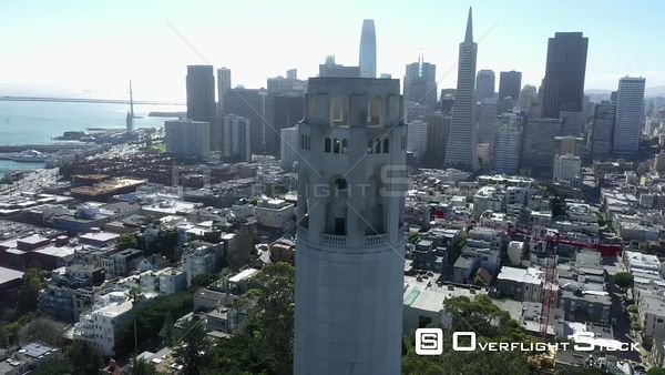 Coit Tower Telegraph Hill and Downtown San Francisco California Drone Aerial View