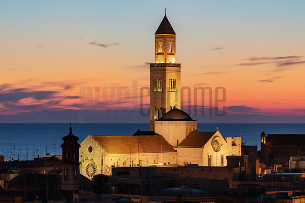 Elevated View of Bari Cathedral at Dawn