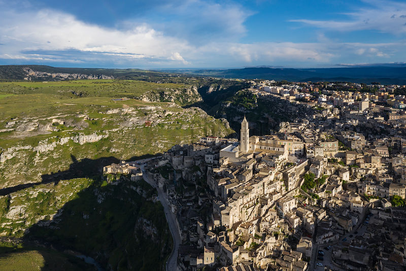 Aerial View of Matera and the Murgia Plateau and the Gravina di Matera River