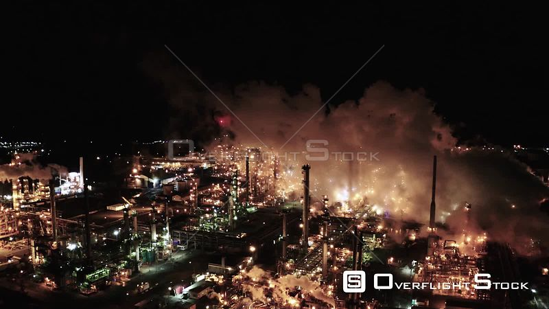Oil refinery in Anacortes, Washington, USA at night.