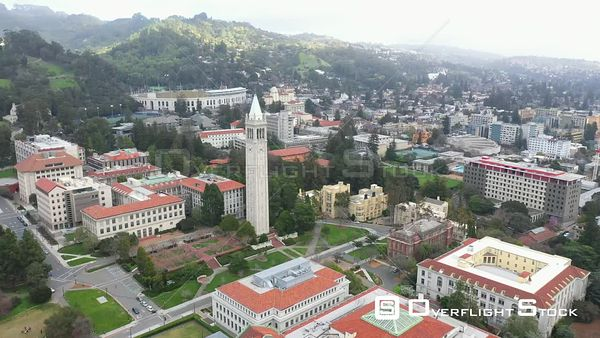 The Campanile Bell and Clock Tower Campus Drone Aerial View University of California Berkeley