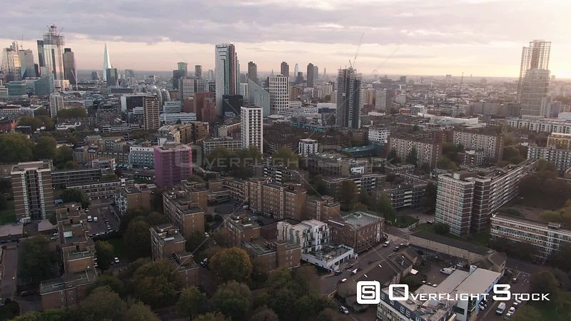 Aerial dolly view of the skyline of the city and central London from the North