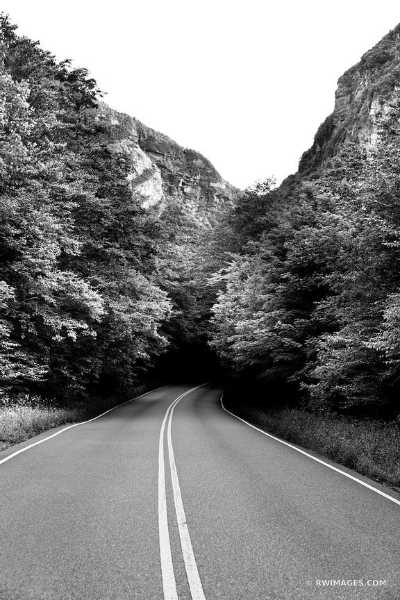SMUGGLER'S' NOTCH GREEN MOUNTAINS FOREST ROAD VERMONT BLACK AND WHITE VERTICAL