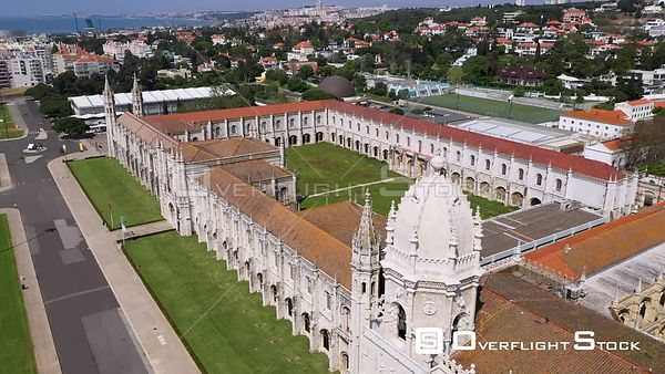 Aerial tracking of Jerónimos Monastery, in Belém, Lisbon, empty streets During Covid-19 Pandemic Portugal