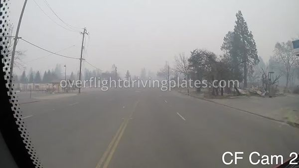 Camp Fire Post Fire Smoke  Paradise California USA - Center Front View Driving Plate Cam16 Feb 15, 2019