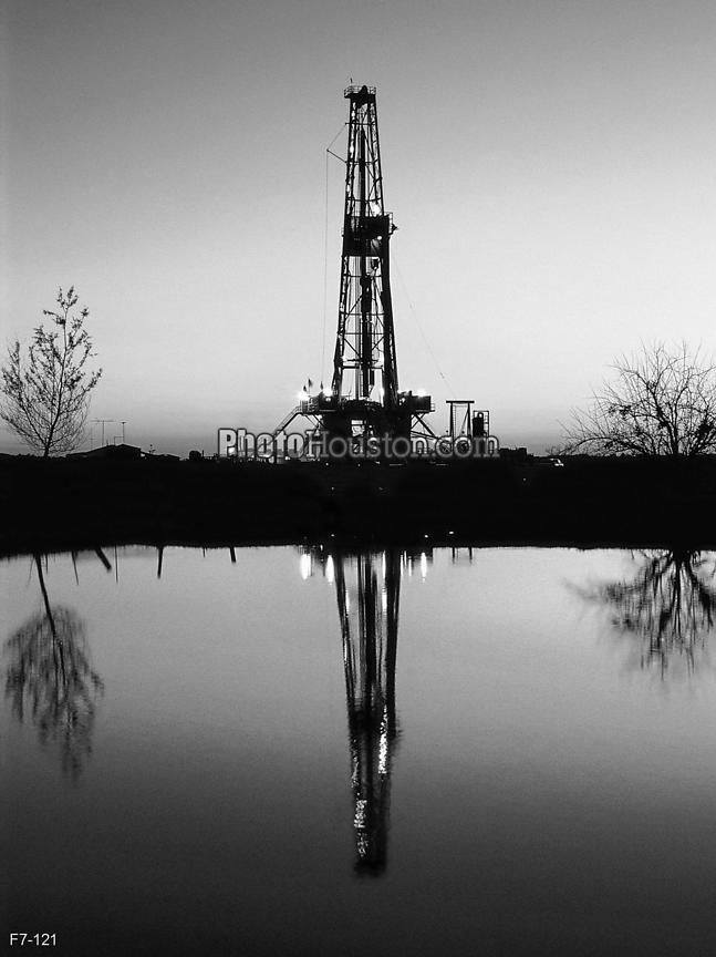 Texas oil derrick in black and white