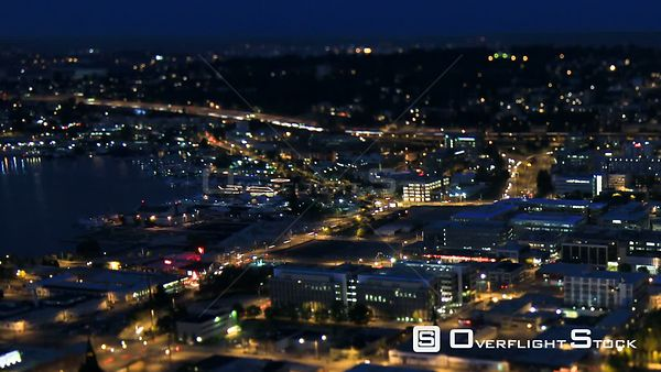 Seattle Washington State USA Panning shot of Seattle city traffic time lapse at night using a tilt shift lens with a horizont...