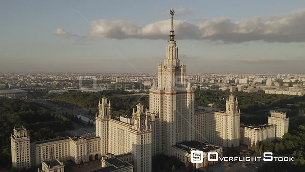 Sunset Flight Pass the Moscow State University. Moscow Russia Drone Video View