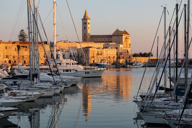Cattedrale di Trani Basilica Reflected in the Harbour  at Dawn