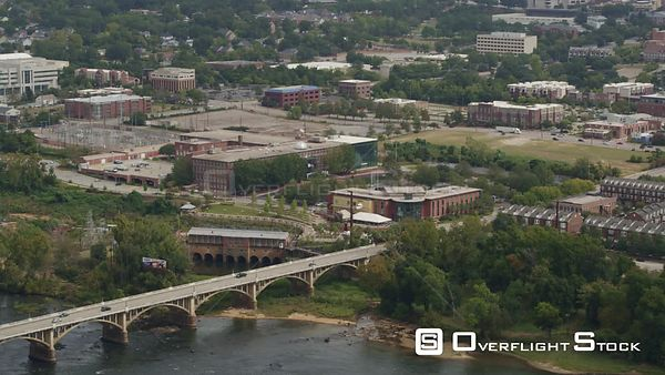 South Carolina Columbia Aerial Birdseye view of Congaree River panning to cityscape