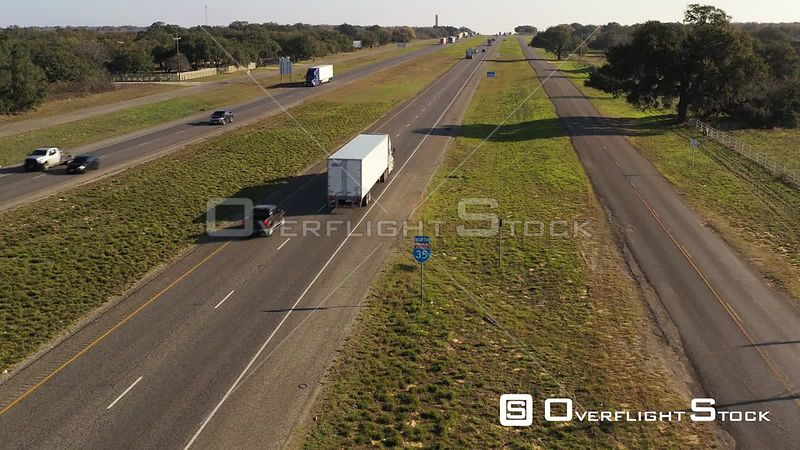 Cars, Trucks and Buses on I-35 Interstate Highway, Natalia, Texas, USA