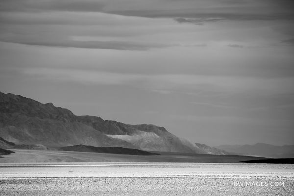 BADWATER BASIN DEATH VALLEY CALIFORNIA AMERICAN SOUTHWEST LANDSCAPE BLACK AND WHITE