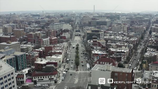 Dreary Winter Day Drone Aerial View of Cennecticut Avenue Washington DC Skyline