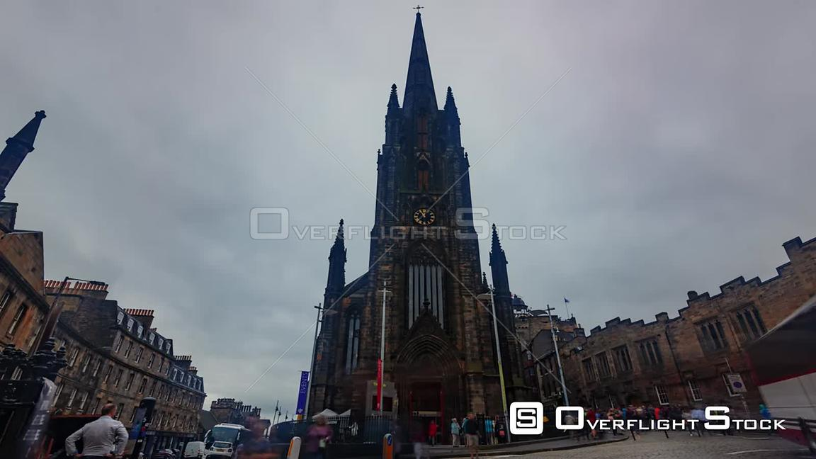 Timelapse View of a Gothic Church in Edinburgh Medieval Old Town Scotland