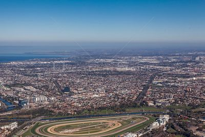 Aerial view of Footscray taken from Ascot Vale in Melbourne, victoria, Australia.