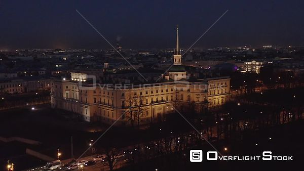 Orbit Shot Over Saint Michael's Castle in City Center at Night. Saint Petersburg Russia Drone Video View