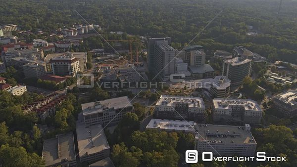 Atlanta Panning birdseye to open sunset cityscape near CDC and Emory Campus with the Druid Hills