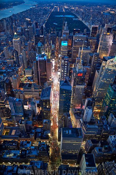 Aerial of Times Square NYC
