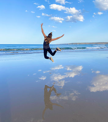 Jumping Over Clouds at the Beach