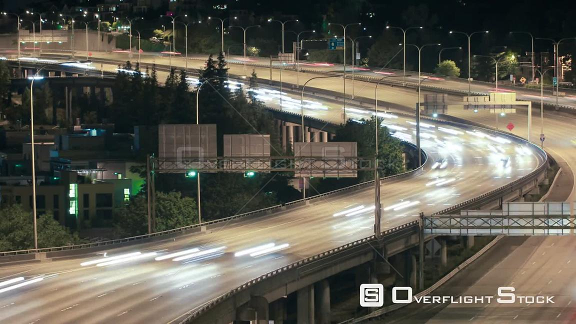 Seattle Washington State USA Seattle I5 traffic time lapse at night.