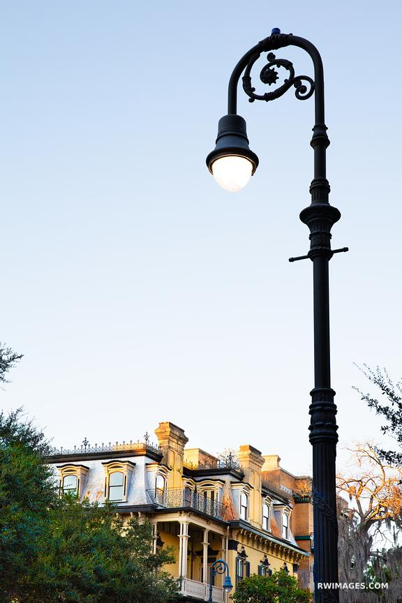 STREET LAMP EVENING HISTORIC SAVANNAH GEORGIA