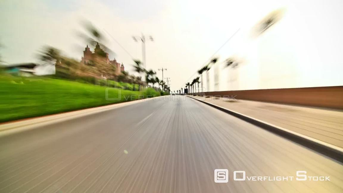Dubai city driving time lapse from the Palm Jumeirah. UAE