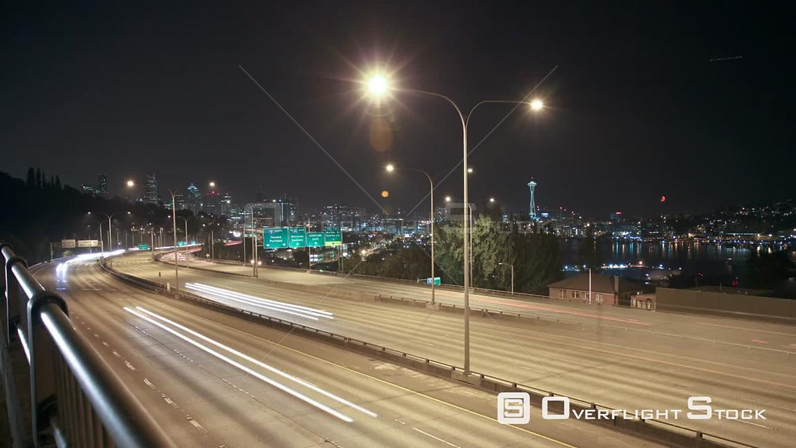 Seattle Washington State USA Time lapse of I5 freeway with Space Needle and cityscape in the background.