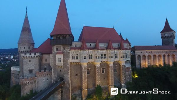 Pull back from the balcony of Corvin Castle. Romania