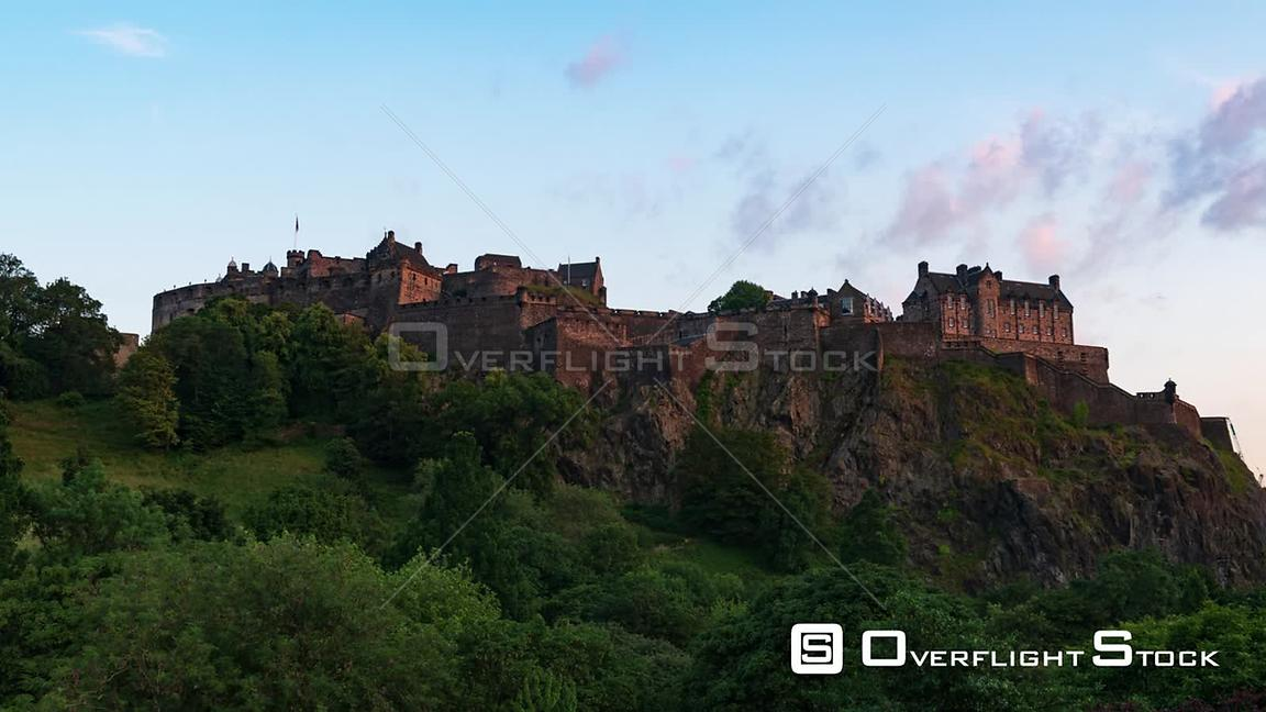Timelapse View of Edinburgh Castle from Princes Street Gardens at Sunset