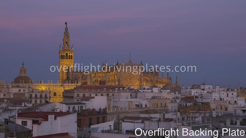 Dusk Cathedral and Residential Neighbourhood - Seville  Spain - BackingPlate Feb 28, 2020