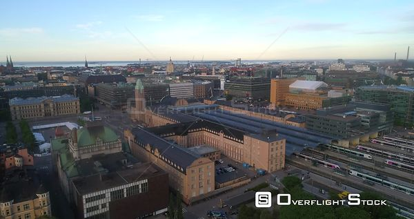 TraStation, Aerial Rising Tilt View of Helsinki Railway Station, Sunny Summer Morning Dawn, Helsingfors, Uusimaa, Finland