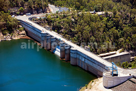 Aerial view of Warragamba Dam, Sydney's main water supply, NSW, Australia.