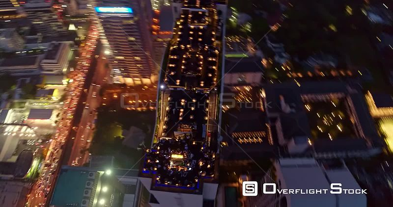 Thailand Bangkok Aerial High, quick, vertical panning close up of rooftop bar and restaurant