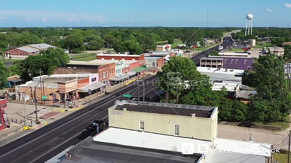 Highway Through Downtown in a Small Town, Calvert, Texas, USA