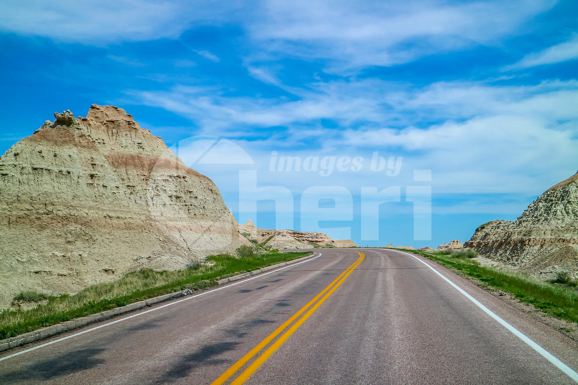 A long way down the road of Badlands National Park, South Dakota
